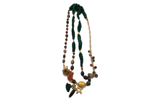 Ottoman Hands Fabric Necklace Gold Plated Brass and Silk with Semi Precious Beaded Detailing